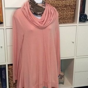 Cupio Pink Cowl neck Tunic NWT size L
